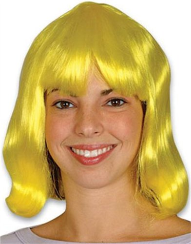 New Mens Womens Child Costume Yellow 80s Flip Party Wig