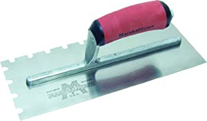 MARSHALLTOWN The Premier Line 5709SSD 11-Inch by 4-1/2-Inch Stainless Steel Notched Trowel with DuraSoft Handle