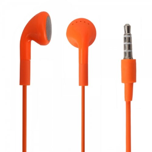Orange 3.5Mm Stereo Fashion Earphone Headsets With Microphone For Best Buy Insignia Flex (By Things Needed)