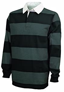 Charles River Apparel Classic Rugby Shirt, Black/Grey, Large