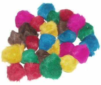 24 Assorted Zanies Fur Balls (2-2.5 inches each) – Cat Toys