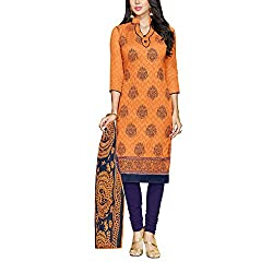 Applecreation Women's Orange | Synthetic unstitched dress materials for women party wear bollywood dress material for Casual | Ceremony | Evening Occasions