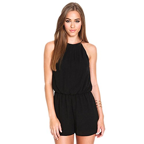 ROPALIA Womens Casual Halter Chiffon Sexy Backless Short Romper Jumpsuit