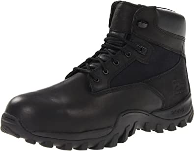 Timberland PRO Valor Men's Mcclellan 6 Inch Side Zip Work Boot,Black Leather,3.5 W US