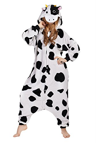 Newcosplay Unisex Cow Adult animal Sleeping Wear Pajamas Kigurumi Onesie Halloween Costume