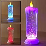 Jannat Decorative SEQUINNED LED CANDLE ILLUSION Colour Changing USB LED Light Water Glitter Spinner Candle