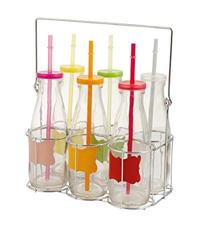 VILLA D'ESTE Botella 6 Piezas con Soporte Multicolor