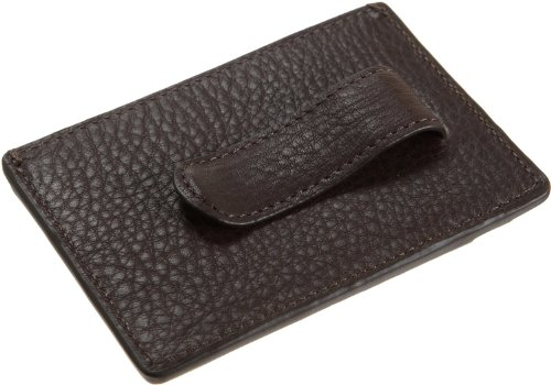Tumi Tumi Pebbled Brown Leather Money Clip Card Case Wallet Sundance