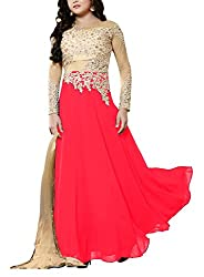 Miss Ethnic Women's Net Unstitched Dress Material (Red and Gold)
