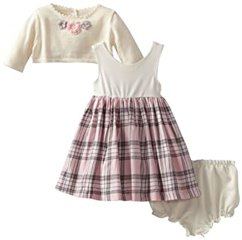 Laura Ashley London Baby-Girls Infant Plaid Dress with Sweater, Pink, 12 Months