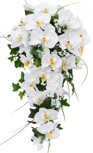 Tropical Silk Orchid Cascade White/Yellow/Orange - Wedding Bouquet