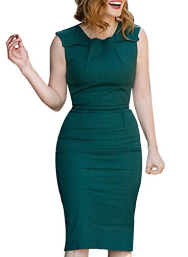 VfEmage-Womens-Elegant-Vintage-Ruched-Wear-To-Work-Business-Casual-Pencil-Dress