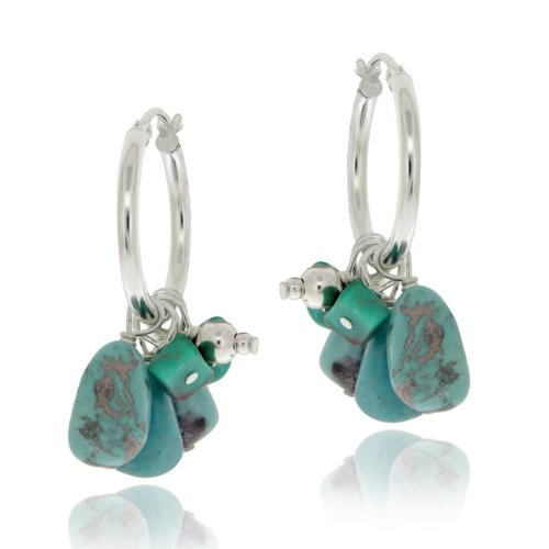 Sterling Silver Created Turquoise Chips & Nuggets Hoop Earrings