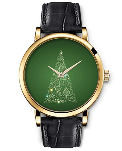 Sprawl Classic Analog Round Face Genuine Black Leather Gold Watches Present For Women Fun Design --- Unique Floral Christmas Tree Watch front-779398