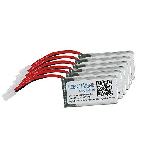 Keenstone 6 pezzi di 3,7 V 400mAh 25C Batteria LiPO per radiocomandato Hubsan X4 (H107, H107C, H107D, H107L, V252 JXD385), 2,4 GHz, 4 canali, compatibile con Walkera RC, Genius CP CP CP-Super Mini