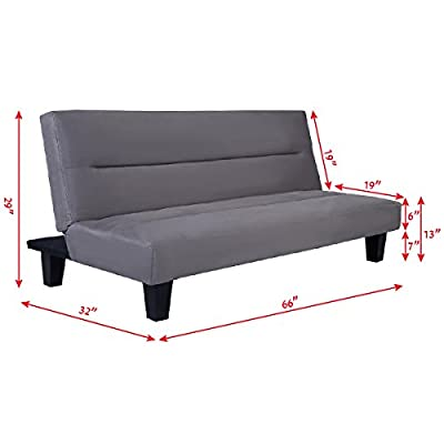 "Discoverysun Futon Folding Couch Sofa Bed 6"" Mattress Sleep Recliner Lounger Gray"