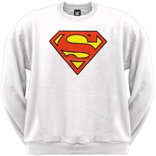 Old Glory Mens Superman - Shield Logo White Crew Neck Sweatshirt - 2X-Large White