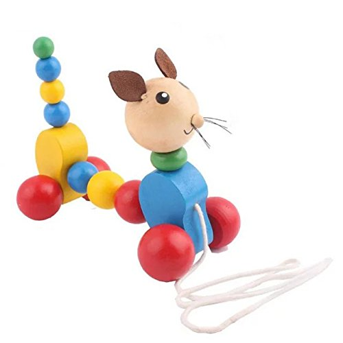 Eonkoo Wooden Ring Puppy Drag Pull Toys for Toddler Babies,Laugh and Walk Learning Push Along Toys Infant