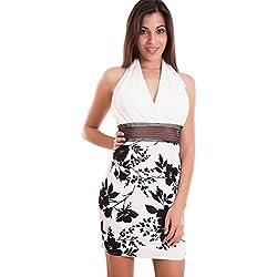 Toocool - Vestito donna miniabito tubino aderente fiori scollo V americana nuovo CJ-2190 [Taglia unica,bianco] Taglia unica bianco