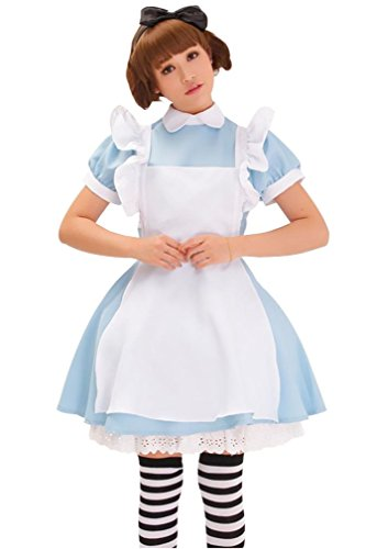 Harvest Women's Alice Wonderland French Apron Maid Cosplay Costume (Blue)