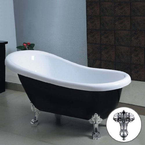 CHIC BLACK TRADITIONAL FREESTANDING ROLL TOP BATH TUB