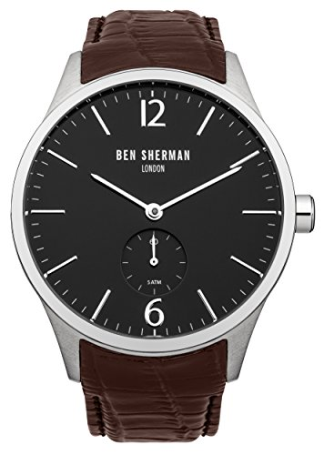 Ben Sherman Men's Quartz Watch with Black Dial Analogue Display and Brown Leather Strap WB003BR