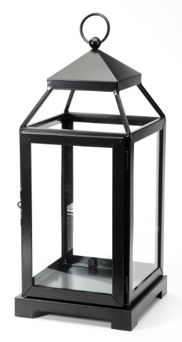 M2CBridge Metal-Coated Garden Candle Lantern Holder Candleholder with Windowpane -Black (17.5 Inch)