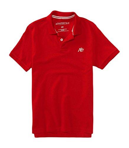 Aeropostale Men's A87 Solid Logo Piqu? Polo Shirt L Red Sky