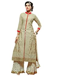 Mantra Fashion New Designer Printed Plazo Style Beige And White Salwar Suit