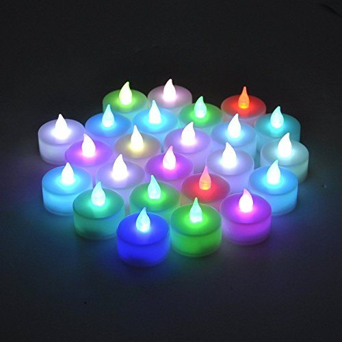 Instapark® LCL-C12 Battery-powered Flameless Color-changing LED Tealight Candles, Two Dozen Pack