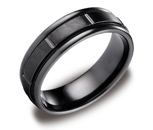 Men's Black Titanium 7mm Round Edge Comfort Fit Wedding Ring Band Satin Finish with High Polish Grooves, Size 8