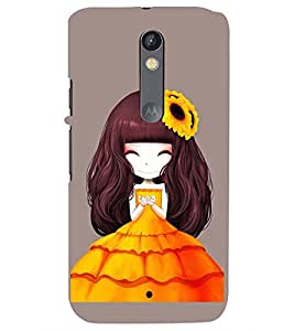 Printvisa Premium Back Cover Animated Girl With Orange Dress Design For Motorola Moto X Style::Moto X Pure Edition