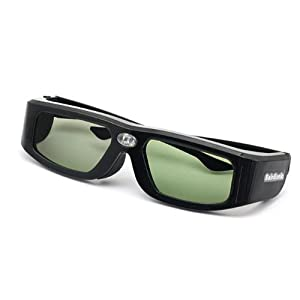 SainSonic SSZ-200DLB 144Hz 3D IR Active Rechargeable Shutter Glasses for Acer ViewSonic BenQ Vivitek Optoma 3D DLP-Link Ready Projector, Black by SainStore Inc.