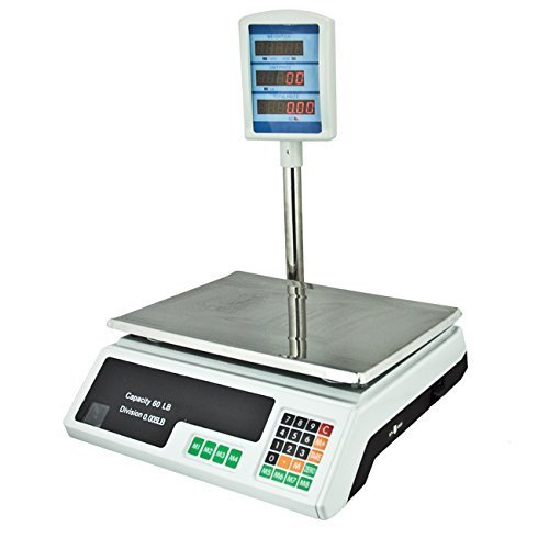 Apontus Digital Produce & Food Scale w/ Tower Display, 60 lbs Capacity, White by Talentstar