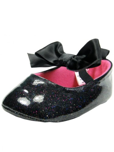 Mary Jane Style Soft Sole Baby Girl Shoes With Bow Accent By Vitamins Baby - Black - 4 Infant / 9 Mths-12 Mths back-890905
