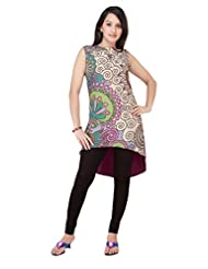 ADS Womens Digital Print Cream Kurti/Tunic - B00NPQAXE4