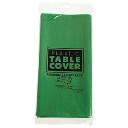 One Rectangle Large Green Heavy Duty Plastic Tablecloth - 108""