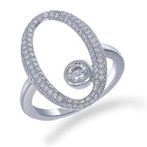 0.90 CT Oval Shape Diamond Ring 18K White Gold VS2 Clarity by FineDiamonds9