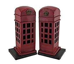 Retro British Phone Booth Metal Bookends Hand Painted