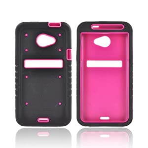 HTC EVO 4g LTE Duo Shield Silicone Over Hard Plastic Snap On Shell Case Cover W/ Lcd Screen Protector Cover Kit Film Guard - Black/ Hot Pink