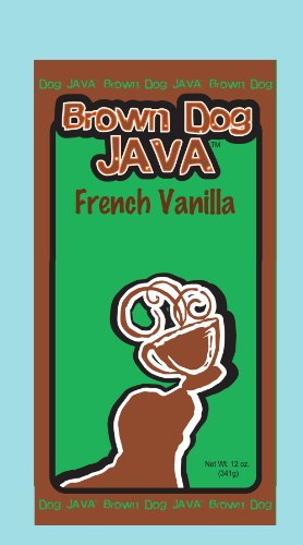 Brown Dog Java's French Vanilla gourmet flavored coffee in a 12 oz bag