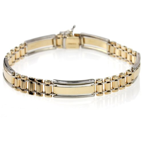 14k Bonded Gold and Silver Men's 9mm Bracelet,