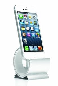 Sinjimoru HEAVY ALUMINUM Sync Stand Dock Cradle Holder for iPhone 5, 4, 4S, 3G, 3GS, iPod & iPad Mini (SILVER ALUMINUM)