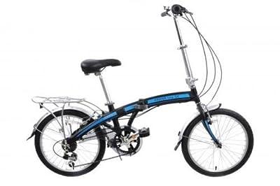 """Ammaco Pakka Lite 20"""" Wheel Folding Bike 6 Speed Lightweight Alloy Folder Black"""