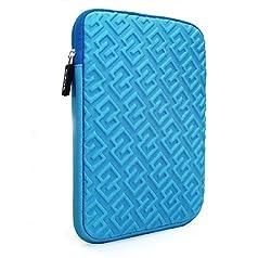 KolorFish iMaze Cute Designer Funky 3D Design Neoprene Sleeve with Zip Case Zipper Sleeve Cover for Apple iPad Mini, Mini 2, Mini 3, Mini 4 Blue