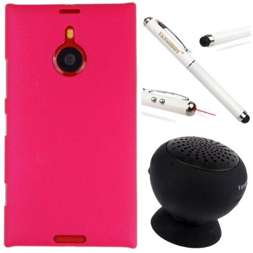Premium Tpu Skin Cover For Nokia Lumia 1520 Windows Phone + Vangoddy Executive Stylus Pen & Laser + Black Vangoddy Suction Stand Bluetooth Speaker (Rose)