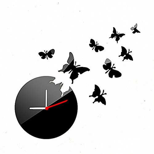 Diy Wall Clock Made Of Acrylic Material, Butterfly, Looks Like Mirror, Modern Design, For Home Living Room Bedroom Kitchen Baby Child Novelty Luxury Crystal Wall Silent Watch Extra Large, New, Black