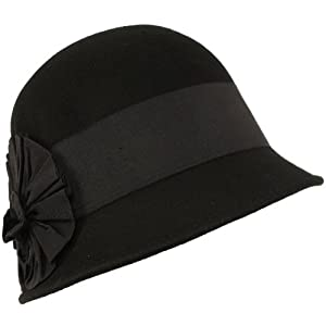 Wool Winter Cloche Bucket Bell Ribbon Bow Hat Black with Black Hatband