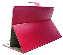 Emartbuy® Leoxsys Xoro-X73 Tablet 7 Inch Universal Range Hot Pink Premium PU Leather Multi Angle Executive Folio Wallet Case Cover Grey Interior With Card Slots + Pink Stylus
