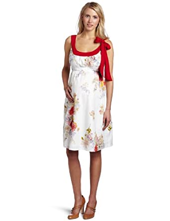 Jules & Jim Women's Maternity Darling Dress With Bow, Red Bouquet, X-Small